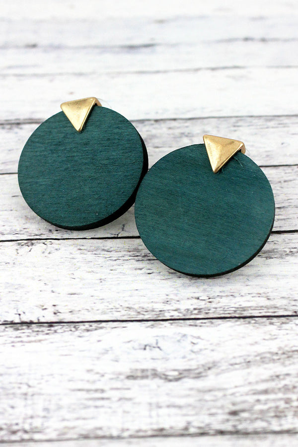 Goldtone and Green Wood Triangle Disk Earrings