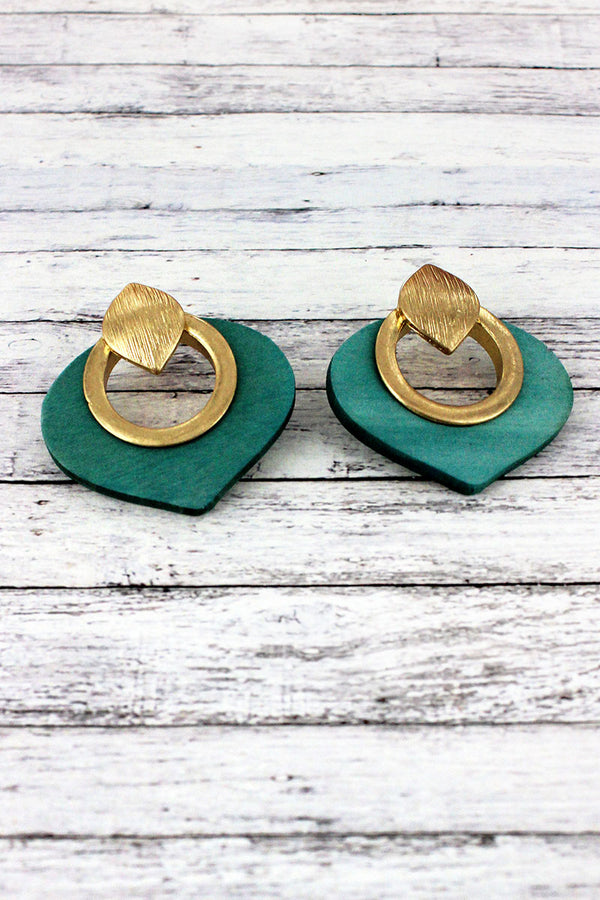 Goldtone and Green Wood Cut-Out Petal Earrings