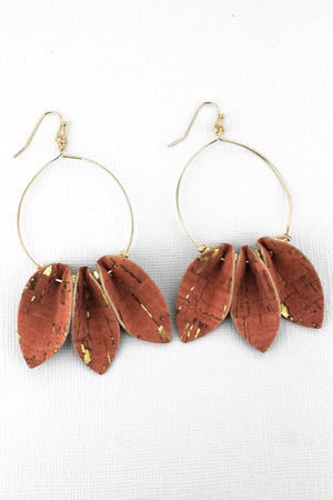 Coral Cork Petal Goldtone Hoop Earrings