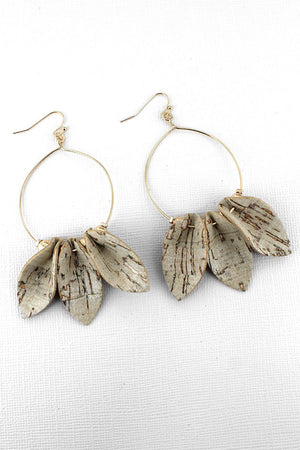 Ivory Cork Petal Goldtone Hoop Earrings