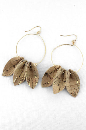 Natural Cork Petal Goldtone Hoop Earrings