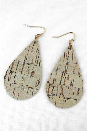 Ivory Cork Teardrop Earrings