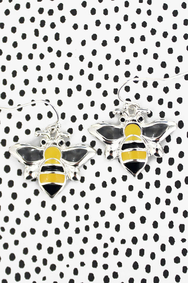 Bumble Bee Enamel Earrings