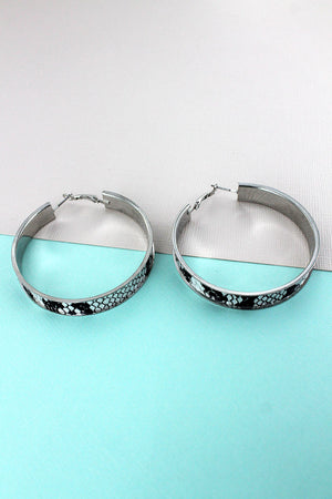 White Snakeskin and Silvertone Hoop Earrings