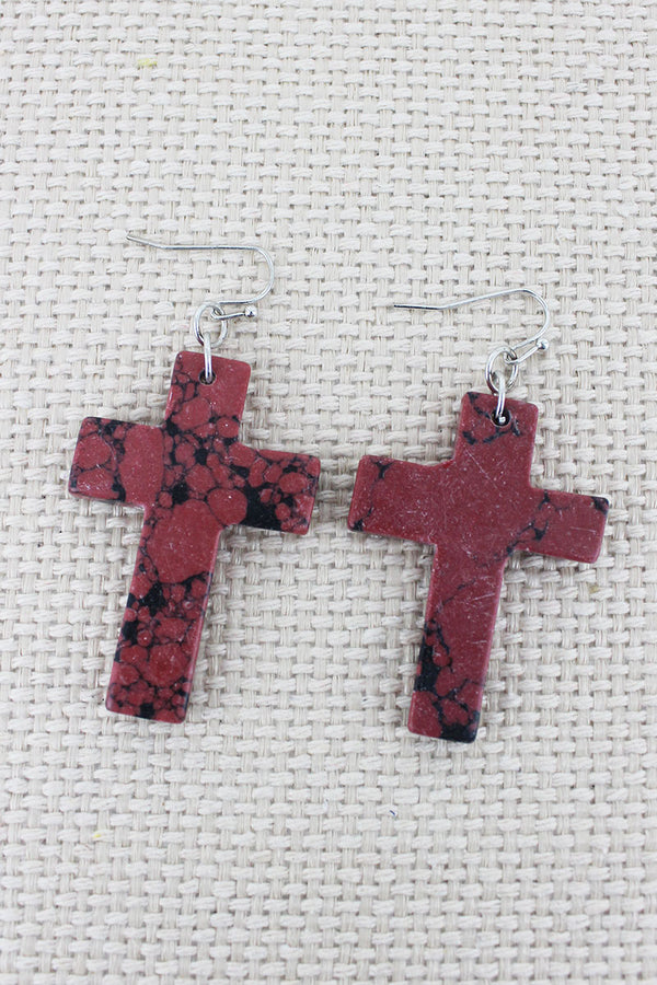 Coral Marbled Stone Cross Earrings