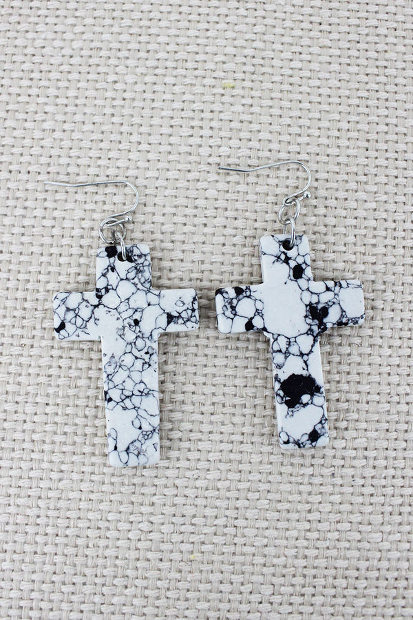 Howlite Stone Cross Earrings