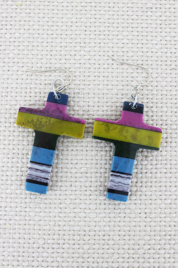 Colorblock Stripe Stone Cross Earrings