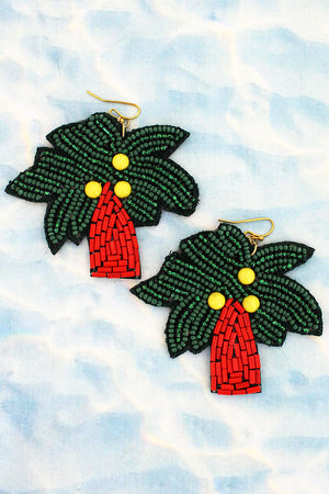 Palm Tree Seed Bead Earrings