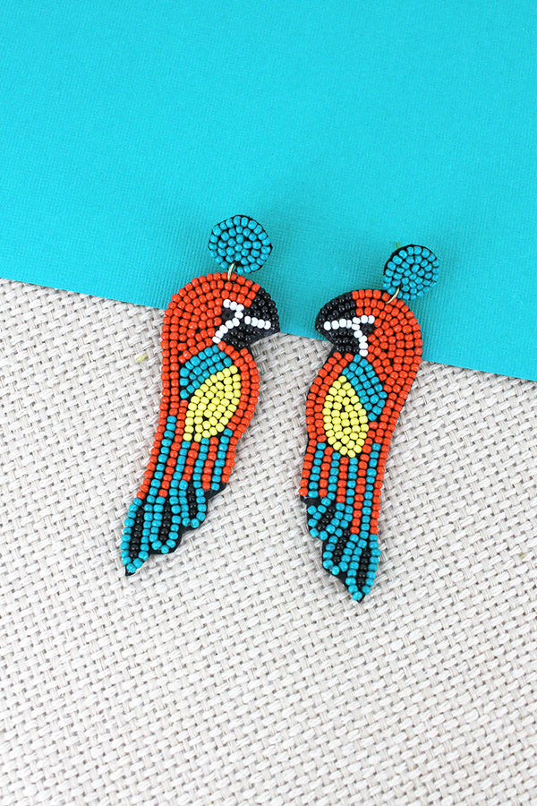 Coral and Turquoise Seed Bead Parrot Earrings