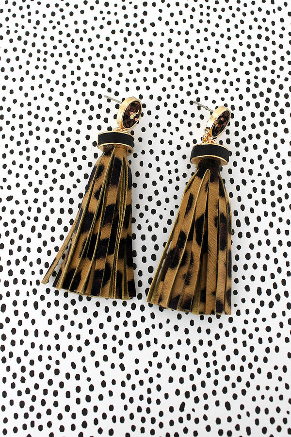 Brown Glitter Disk Leopard Tassel Earrings