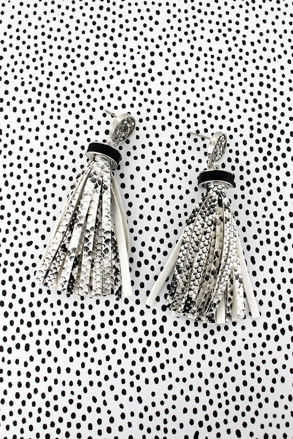 Silver Glitter Disk Snakeskin Tassel Earrings