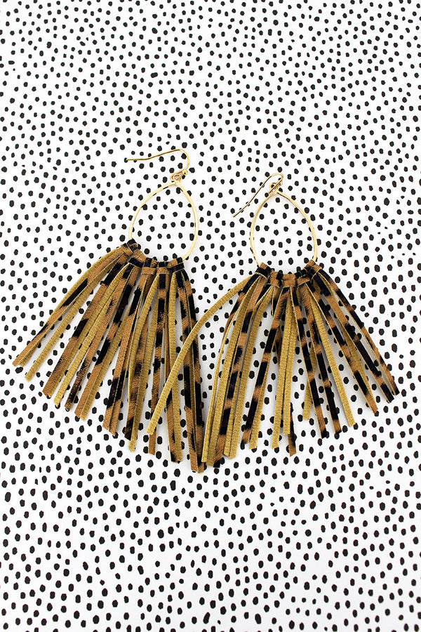 Goldtone and Gold Leopard Fringe Earrings