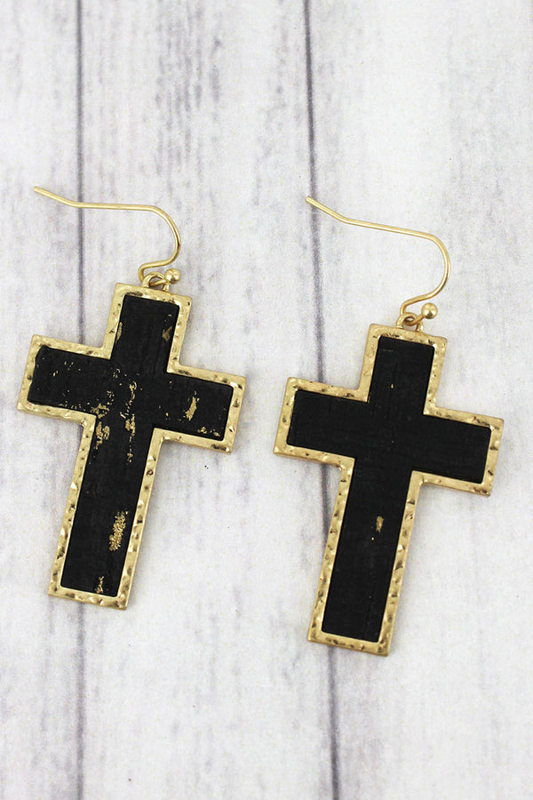 Black Cork and Goldtone Cross Earrings