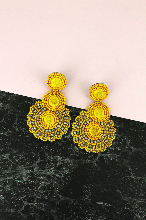 Crystal and Yellow Seed Bead Sunburst Drop Earrings