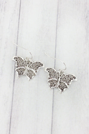 Silvertone Marcasite Butterfly Earrings