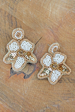 Gold Trimmed Ivory Seed Bead and Sequin Flower Earrings