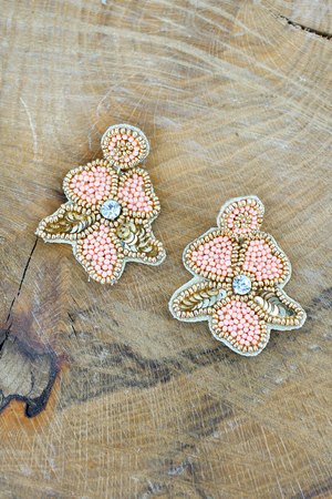 Gold Trimmed Peach Seed Bead and Sequin Flower Earrings