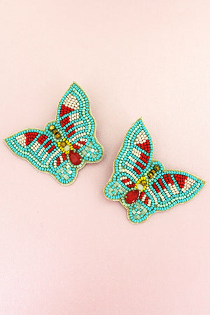Bejeweled Mint Multi-Color Seed Bead Butterfly Earrings