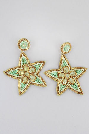 Gold Trimmed Mint and Ivory Seed Bead Starfish Earrings