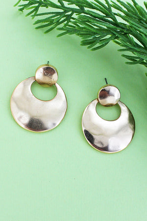 Hammered Worn Goldtone Cut-Out Disk Earrings