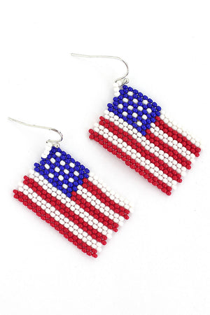 US Flag Seed Bead Earrings