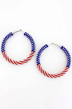 US Flag Seed Bead Hoop Earrings