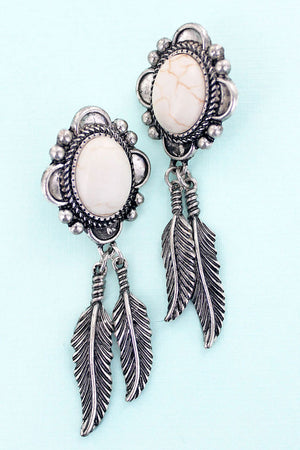 Feather Canyon Howlite and Silvertone Earrings
