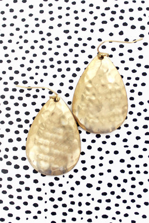 Worn Goldtone Hammered Teardrop Earrings