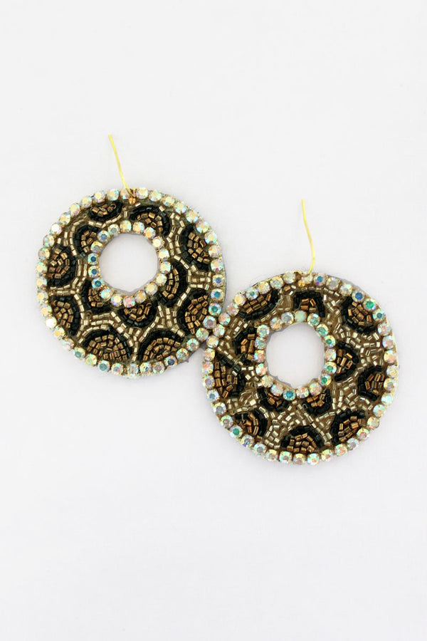 Crystal Trimmed Gold Leopard Seed Bead Disk Earrings