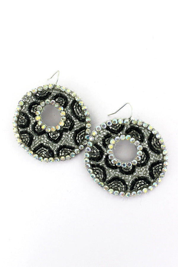 Crystal Trimmed Silver Leopard Seed Bead Disk Earrings