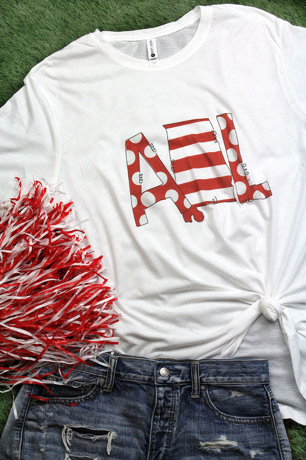 State Alabama Letters Poly/Cotton Tee