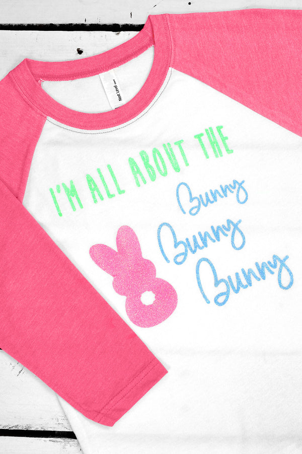 I'm All About The Bunny Youth 3/4 Sleeve Raglan
