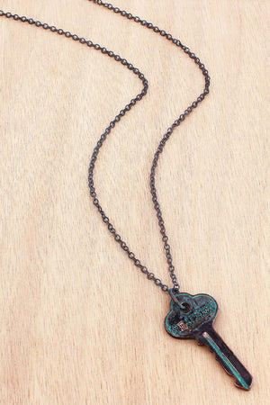 Burnished Patina and Coppertone 'Teacher' Key Pendant Necklace #AN1376-TQ