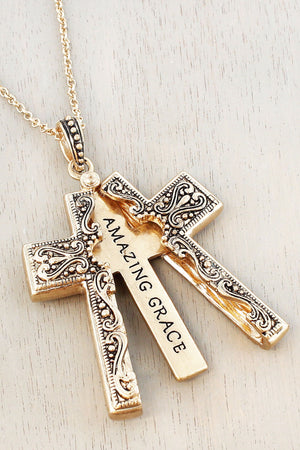 Worn Goldtone 'Amazing Grace' Cross Message Locket Necklace