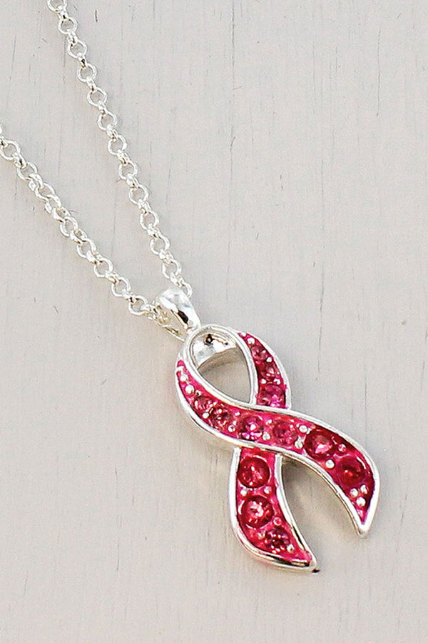Pink Ribbon Rhinestone Pendant Necklace
