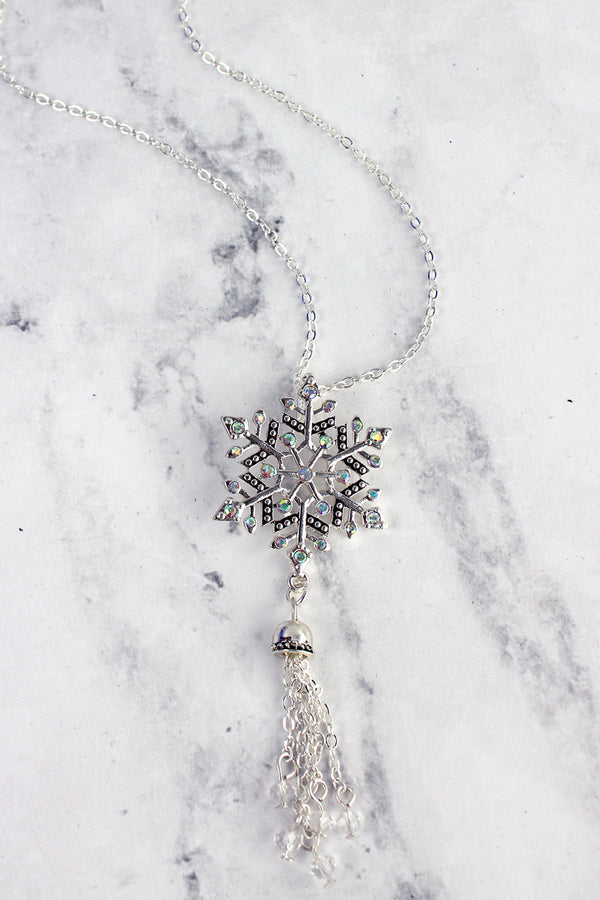Iridescent Crystal and Silvertone Snowflake Tassel Pendant Necklace