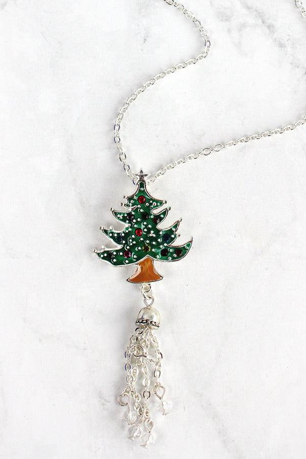 Christmas Tree and Tassel Silvertone Necklace