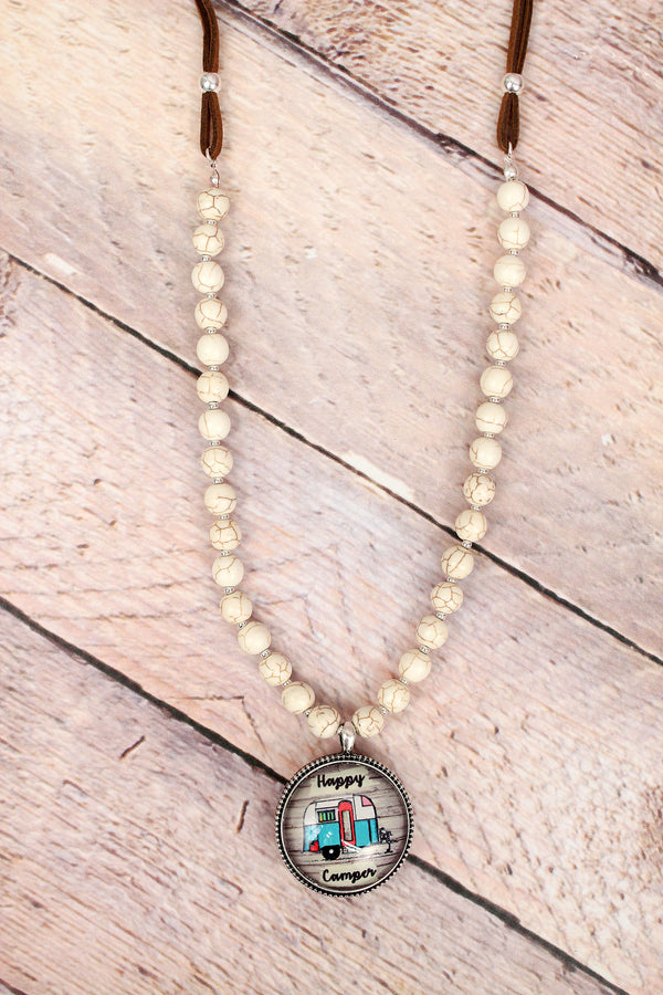 Happy Camper Bubble Pendant Howlite Beaded Cord Necklace