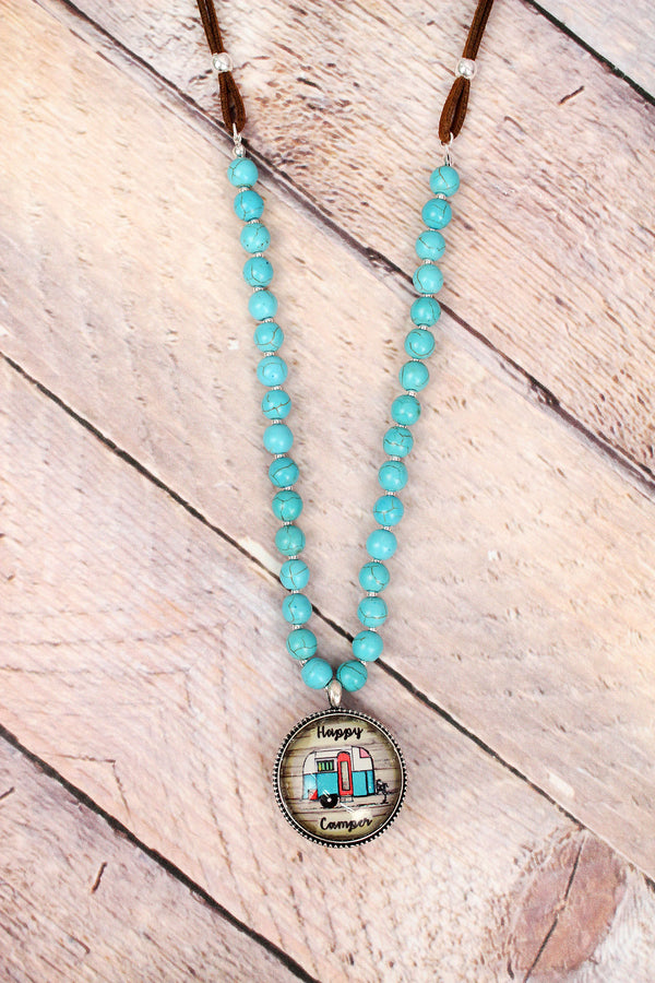 Happy Camper Bubble Pendant Turquoise Beaded Cord Necklace