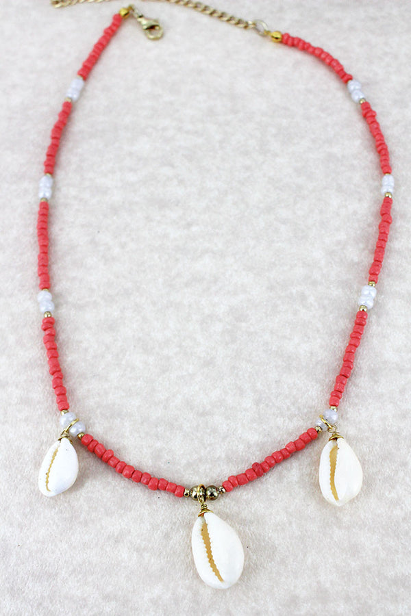 Coral Seed Bead Cowrie Shell Charm Necklace