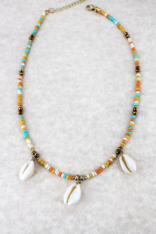 Multi-Color Seed Bead Cowrie Shell Charm Necklace