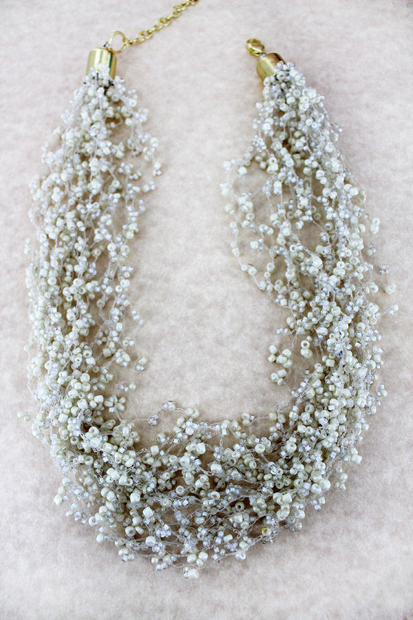 Layered Ivory Seed Bead Necklace