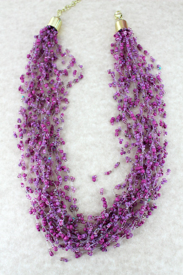 Layered Lavender Seed Bead Necklace