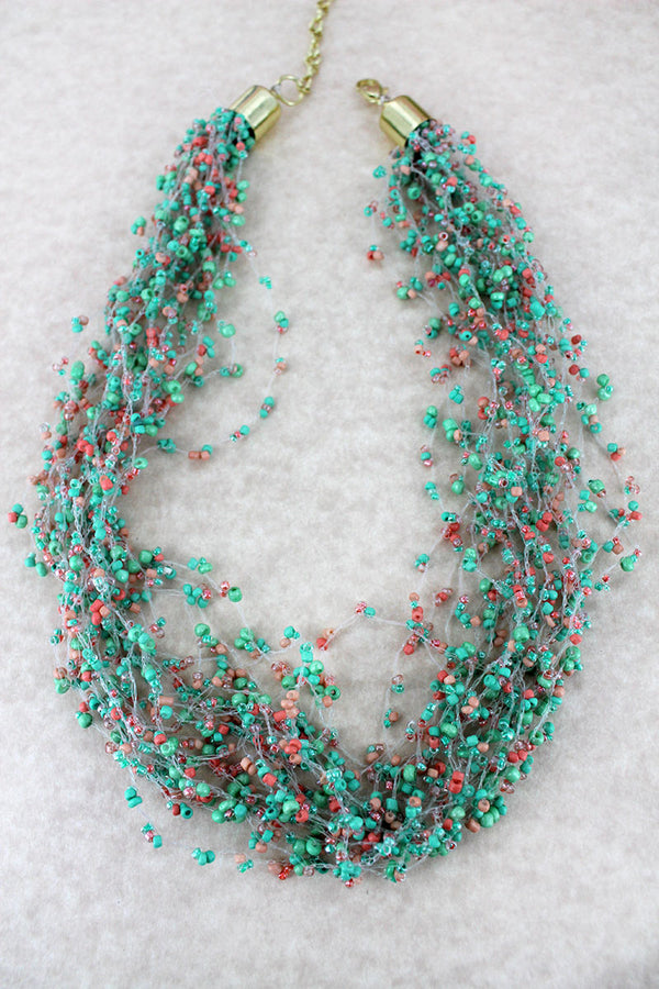 Layered Mint Multi-Color Seed Bead Necklace