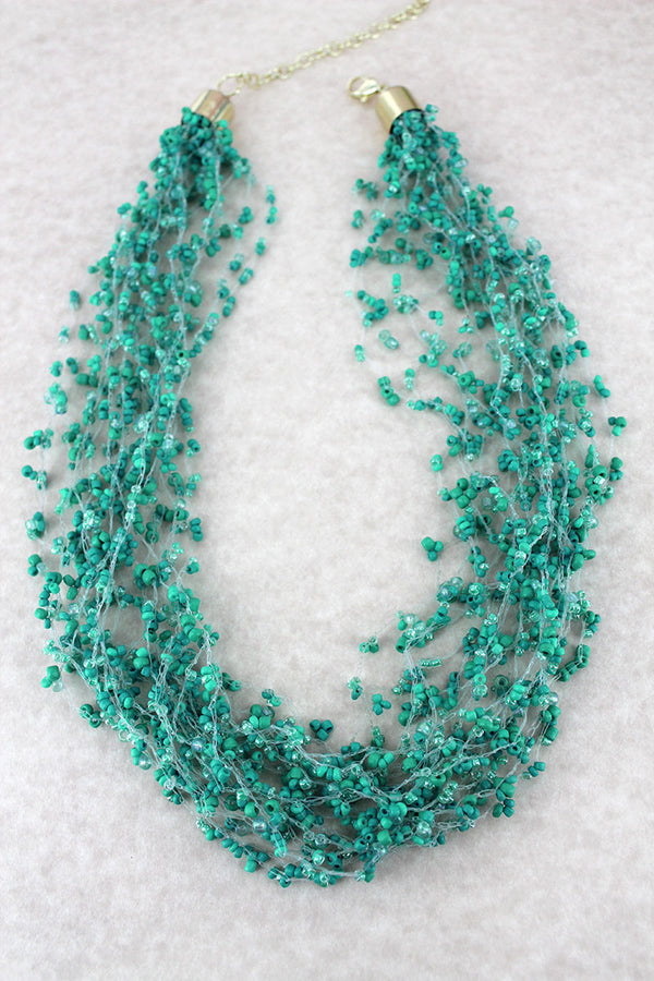 Layered Turquoise Seed Bead Necklace