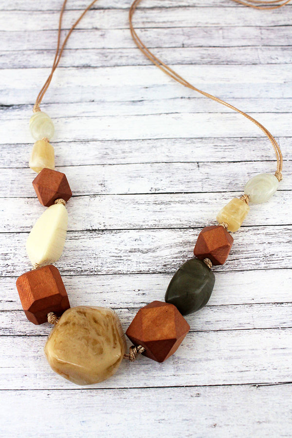 Natural Wood and Stone Bead Adjustable Cord Necklace