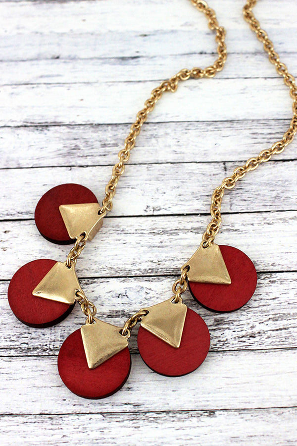 Goldtone and Coral Wood Triangle Disk Necklace