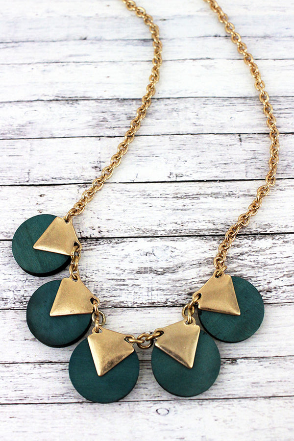 Goldtone and Green Wood Triangle Disk Necklace