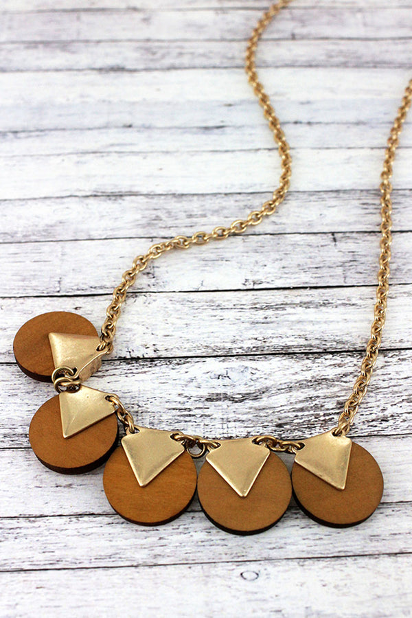 Goldtone and Ochre Wood Triangle Disk Necklace