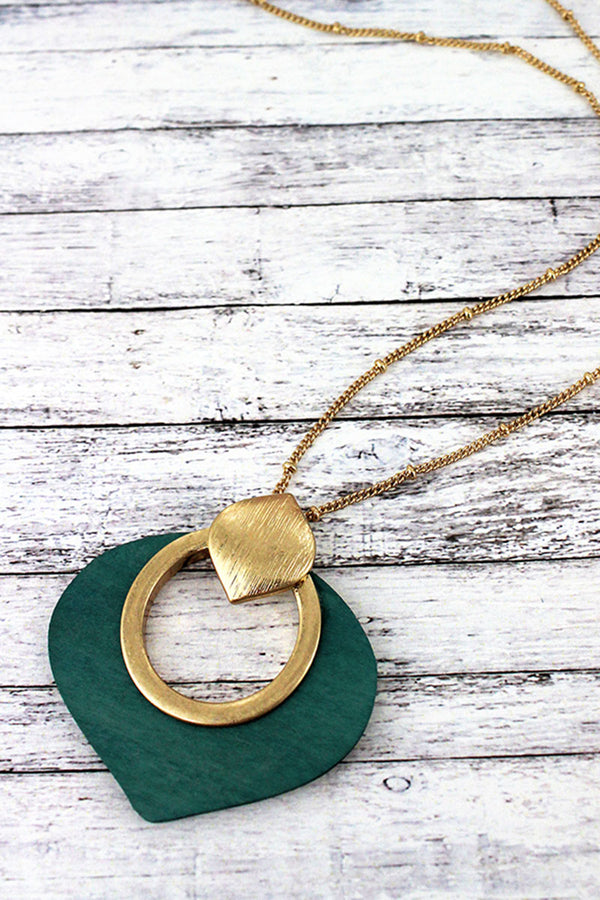 Goldtone and Green Wood Cut-Out Petal Pendant Necklace